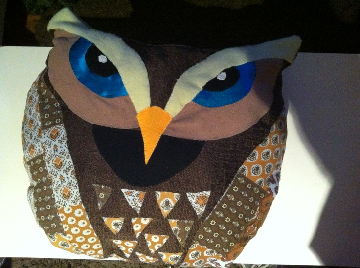 Hand made Owl Pillow from silk felt and upcycled materials..he looks fierce but he's just thinking...