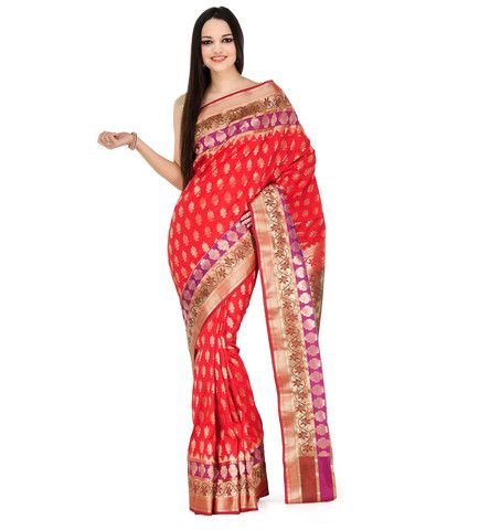 Orange Silk Jacquard Saree | Fabroop