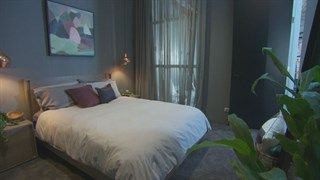 This cozy and seductive space was created by Michael & Carlene in their room on The Block Australia 2014 using Porter's Paints Stone Paint Fine in 'White Rhino'. The space has such a fabulous scheme which you can see on the video