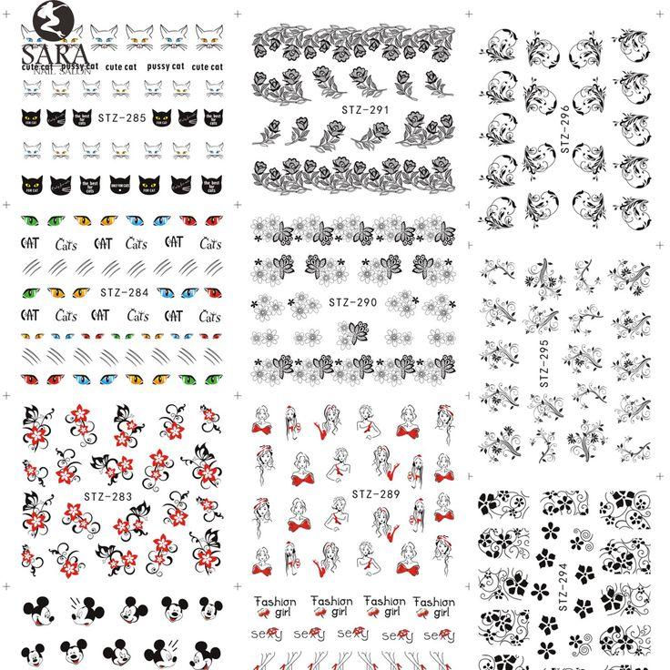 Sara Nagelstudio 1 Blatt Schwarz Nagel Aufkleber Spitze Blume Designs Wassertransfer Nagel-spitzen Decals Sexy Decor Zubehör STZ280-309