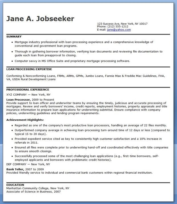 Mortgage Loan Processor Resume Templates Cover Letter For Resume