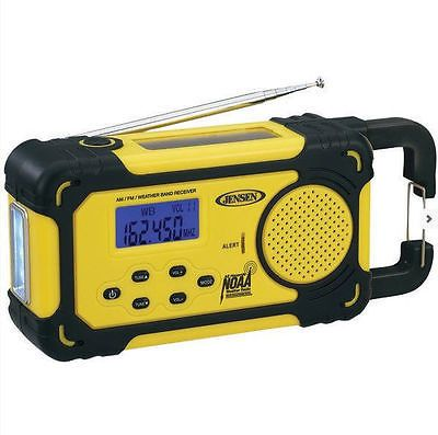 Jensen Emergency Weather Alert AM FM Radio USB Port Flashlight Crank Charge