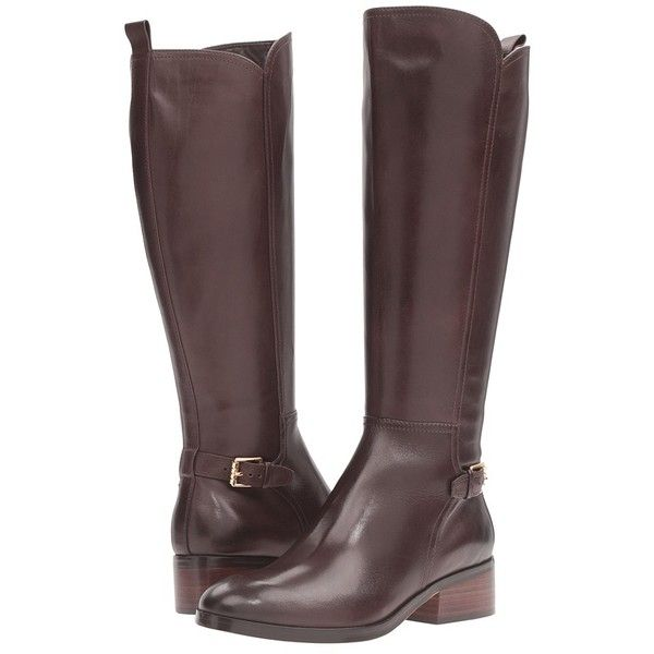 Cole Haan Hayes Tall Boot (Java Leather) Women's Boots (5 395 ZAR) ❤ liked on Polyvore featuring shoes, boots, knee-high boots, leather knee boots, genuine leather riding boots, leather boots, tall knee high boots and cole haan boots
