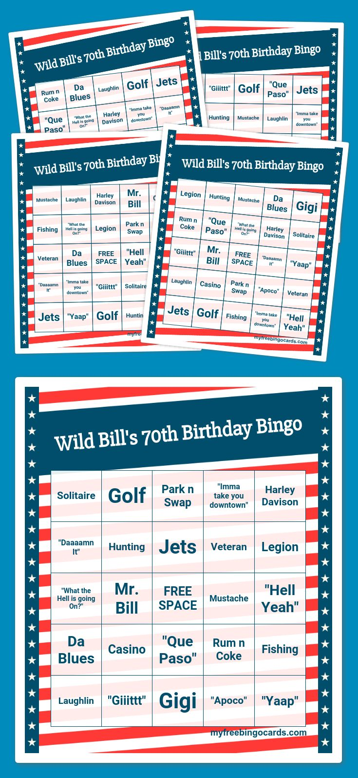 Wild Bill's 70th Birthday Bingo Bingo card generator