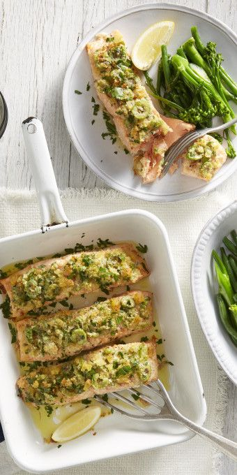 This Salmon with Lemon, Olive and a Parmesan Crust from our mates at Cobram contains very few ingredients to make a delicious dinner. All you do is mix, toss and bake - winner! – I Quit Sugar