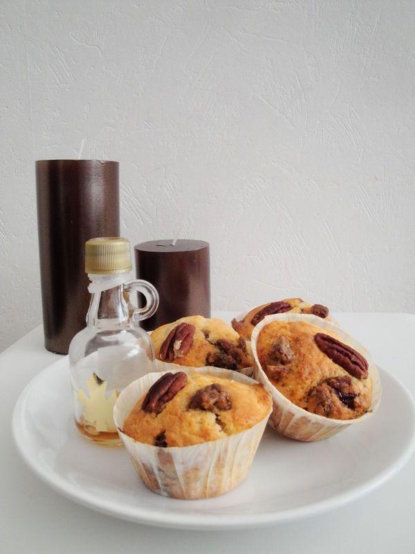 Muffins Banane - noix de pécan caramélisées au sirop d'érable