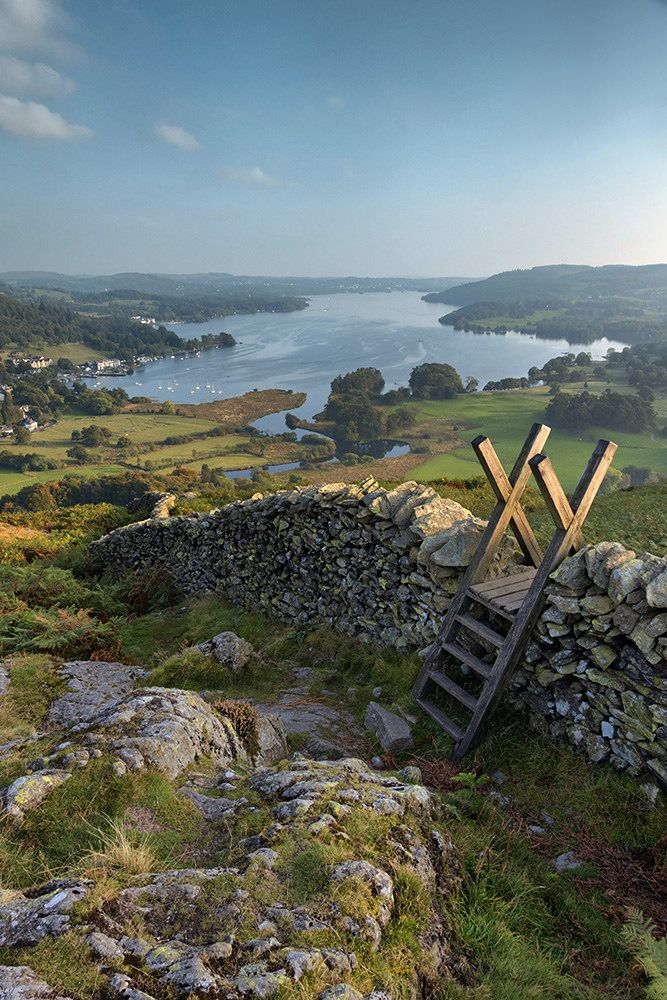 View down over Windermere from Loughrigg Fell - Cumbria, England by High Peak and Lowland