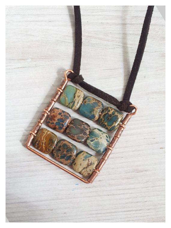Square Pendant Boho plaid pendant Natural blue gemstone pendant.