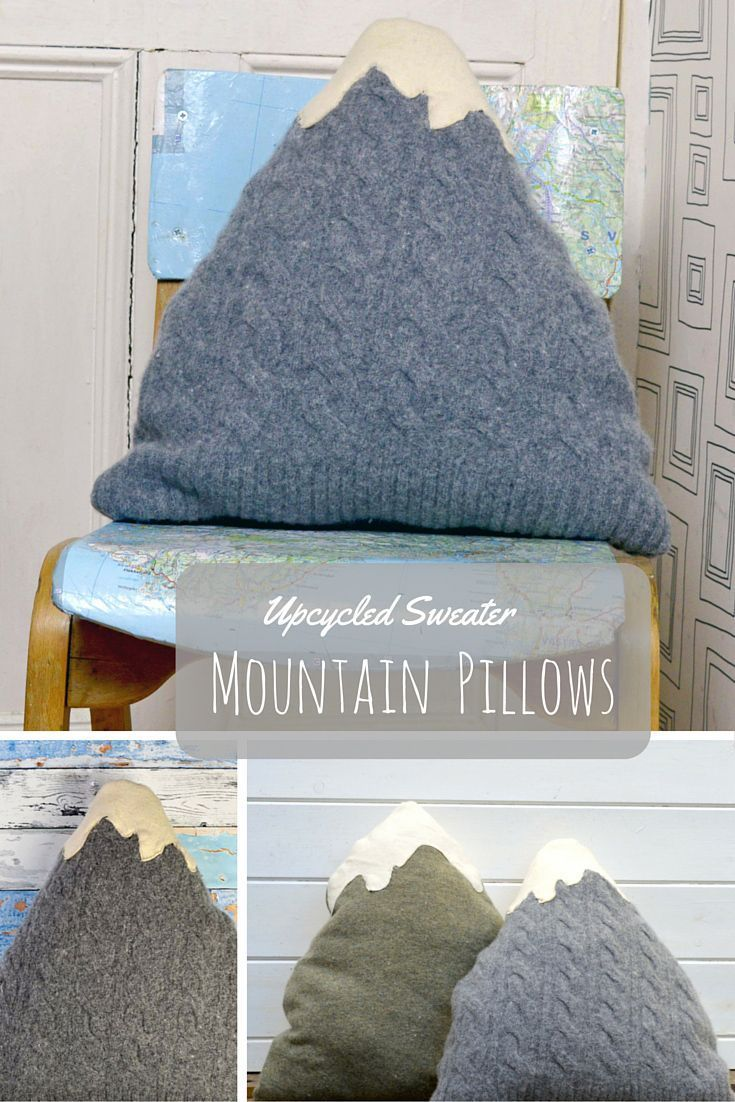 Create your own little mountain decor by upcycling your old sweaters into a mountain cushion /pillow. Full tutorial.