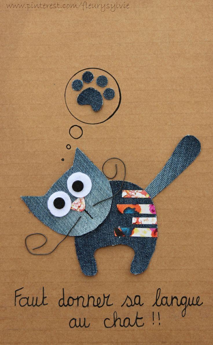 Faut donner sa langue au chat !! Recyclage des pantalons over troués de mes garçons et découpage de mes vieux magazines #recycle #jeans