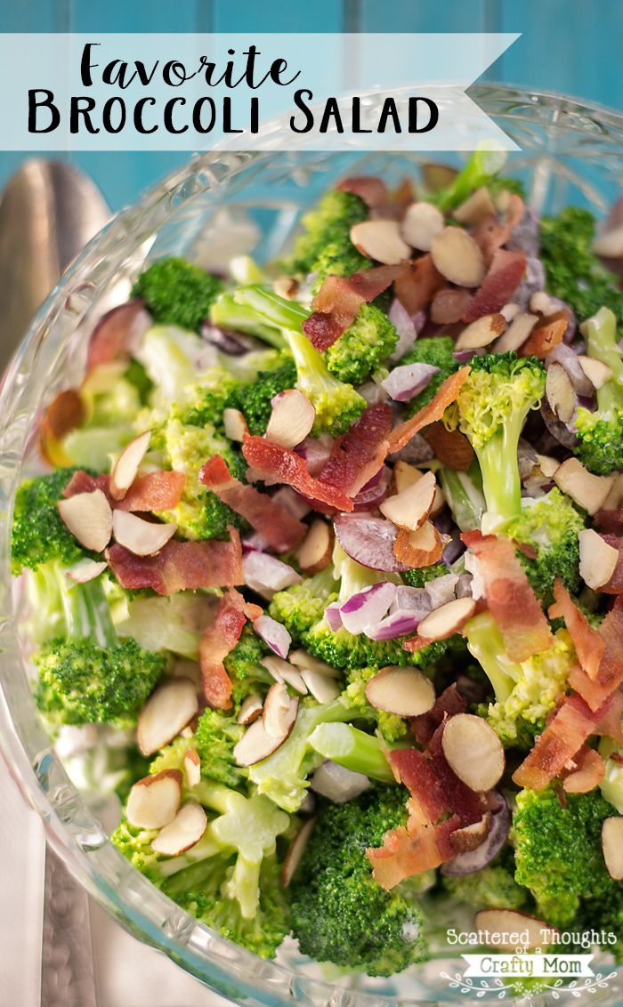 Need a quick and easy side dish?  You have to try our Favorite Broccoli Salad recipe!  The flavor combination of the broccoli, bacon, almonds and grapes (with a touch of mayo and sugar) is perfect. Makes a fabulous side dish for your next meal, plus it is always a hit at potlucks!