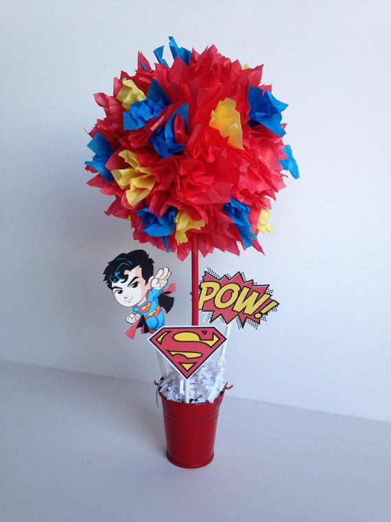 Superman, Super Hero birthday party decorations and centerpieces by ...