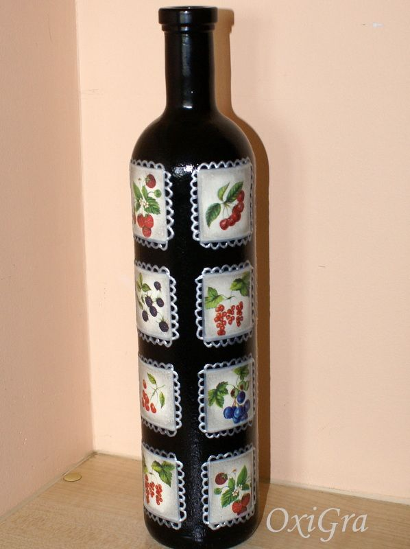 26 best painted bottles images on pinterest decorated for Cool wine bottle ideas