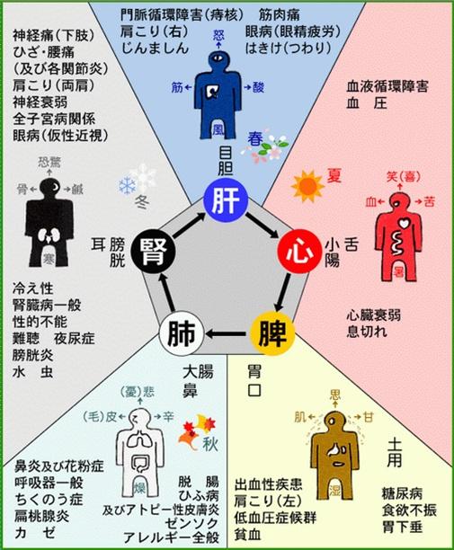 日本人關於五行、五臟六腑疾病對應的表述