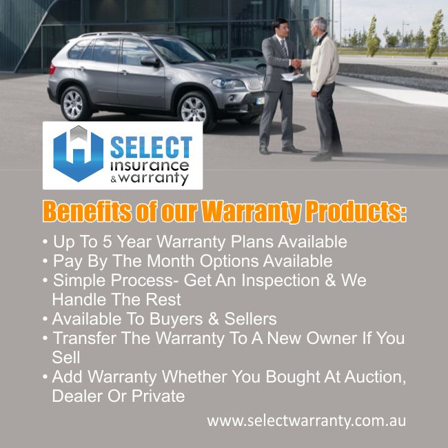 Benefits of our warranty products: 1- Up To 5 Year Warranty Plans Available 2- Pay By The Month Options Available 3- Simple Process- Get An Inspection & We Handle The Rest Available To Buyers & Sellers 4- Transfer The Warranty To A New Owner If You Sell 5- Add Warranty Whether You Bought At Auction, Dealer Or Private http://ow.ly/NHGVv