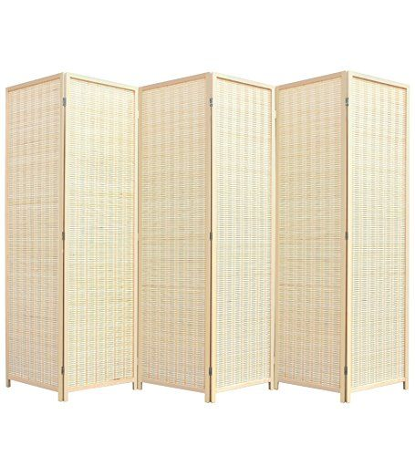 RHF 6 Ft. Tall Extra Wide, Double Hinged, Bamboo Room Divider,