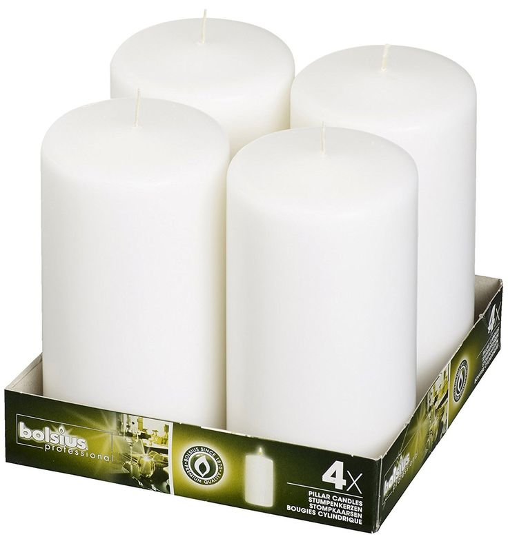 Bolsius 3x6 Set Of 4 White Pillar Candles aprox 3x6 inces *** Click image for more details.