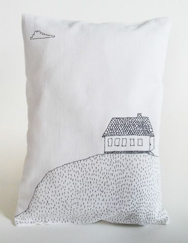"""Jenny Almen """"House"""" Pillow - buy ikea pillows, kids decorate 'home' with family in front"""