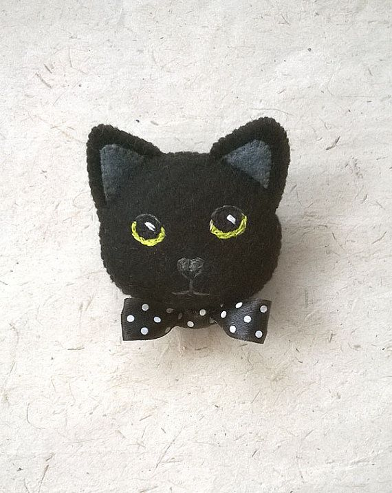 Felt Black Cat Brooch Pin Hand Embroidered with by Whimsylandia, $17.50