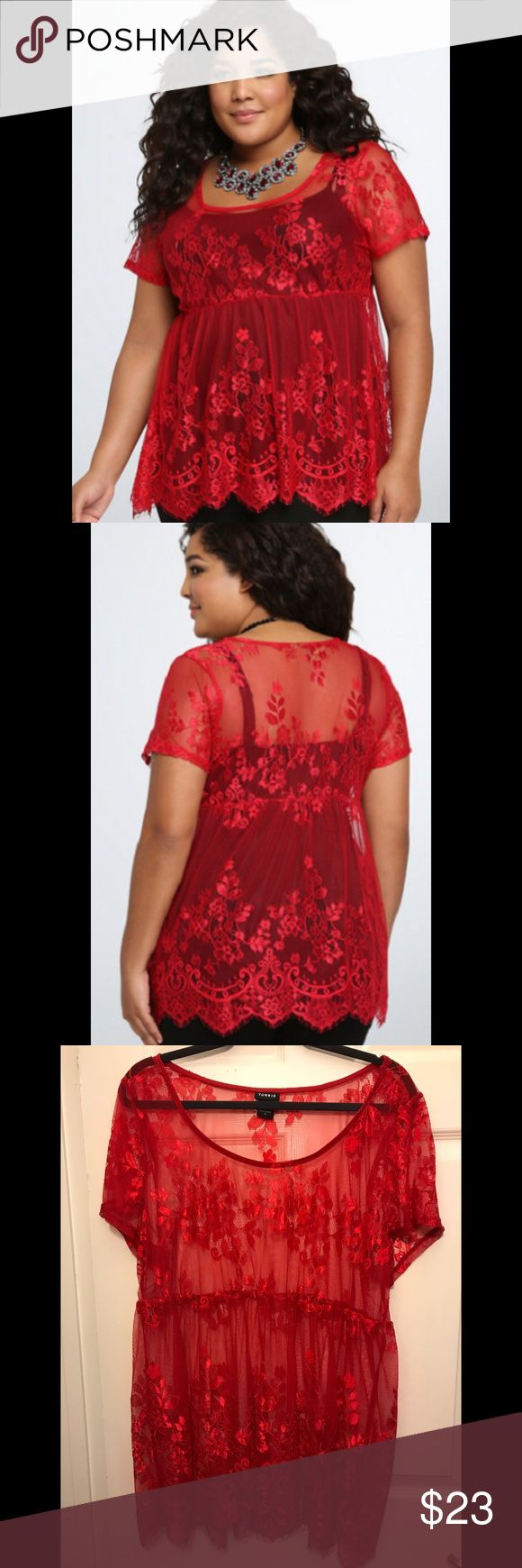 Torrid Sheer Lace Babydoll Top NWOT Single? Taken? Whatever your relationship status, this sheer, red floral lace top will add some romance to your life. The delicate top can easily be layered; a babydoll cut flatters your figure, and the eyelash trim adds a flirty touch. **Brand new without tags. Took the tags off, but never had occasion to wear it.** torrid Tops Blouses