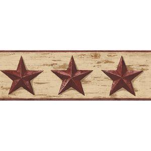 Red Barn Star Wallpaper Border