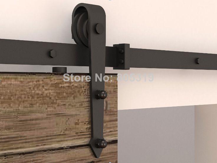 Schwarz rustikal schiebetüren scheunentor hardware laufschiene 1. 5m/1. 83m/2m/2. 5m Titel für Auswahl