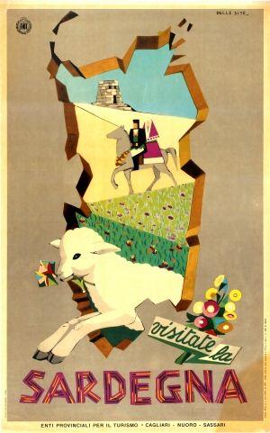 Visit Sardinia ENIT Italy, 1951 - original vintage poster listed on AntikBar.co.uk