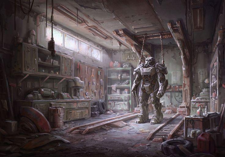 Artstation Fallout 4 Power Armor Garage Ilya Nazarov