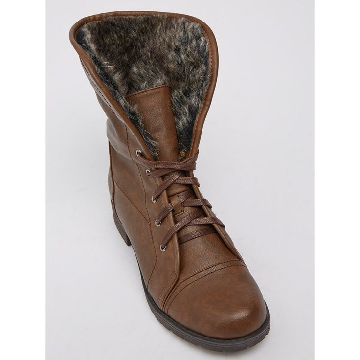 Lace-up Ankle Boots with Fur-like Lining Mid Brown