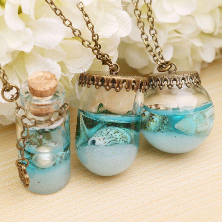 Collier Fiole Chaîne Sautoir pendentif globe verre objet fée glauque bracelet
