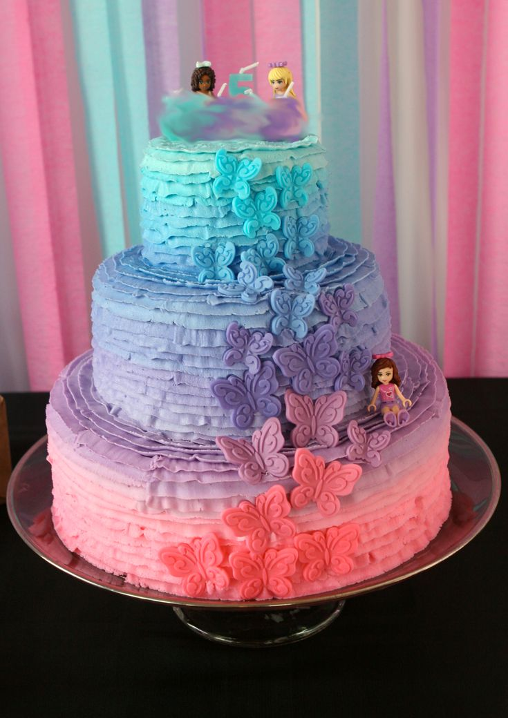Lego friends Birthday Party - Cake - Ombre cake - Lego girl party