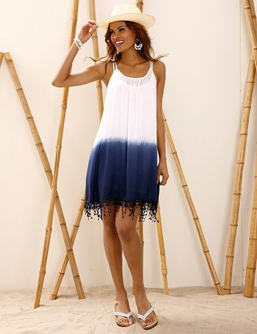 Robe dip & dye bleue et blanche
