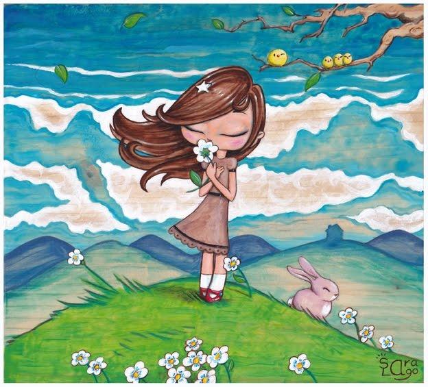 Sara Lago Ilustración - Fanny Doll. ¿Se acordará de mí?_Pintura acrílica sobre tabla.