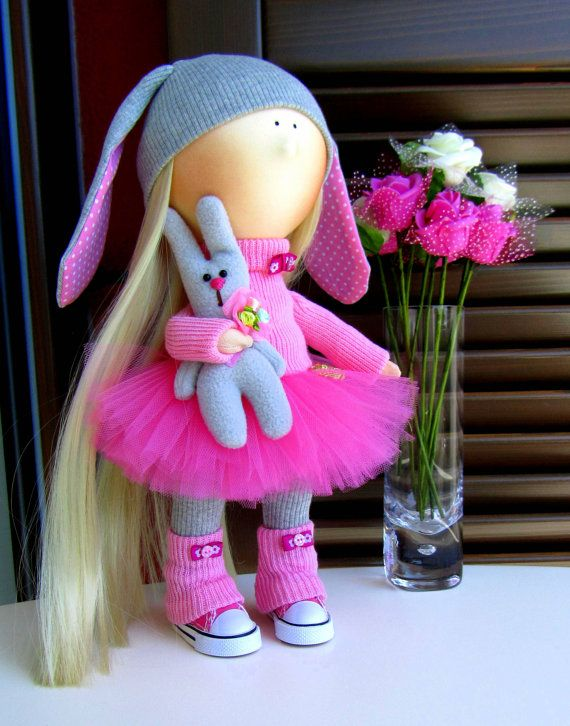 CLOTH DOLL handmade doll fabric doll art от NICEDOLLSANDRABBITS