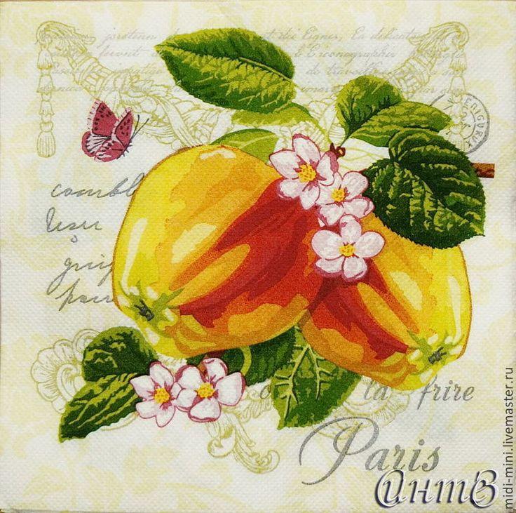 Купить салфетки для декупажа яблоки цветы принт декупажный - салфетки, Декупаж, декупажные салфетки