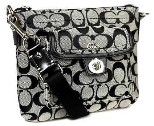coach black and gray purse vlf2  Coach Signature Swingpack Crossbody Bag, Style 45026 Black White Oh I  REALLY want/