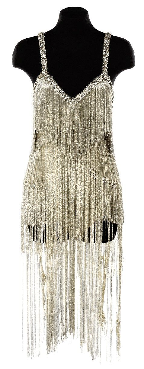 Silver lame dance leotard with silver bugle bead fringe used in The Best Thing in Life Are Free.