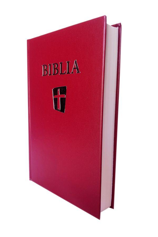 Biblia NTR (Biblia Noua Traducere), grena, coperta cartonata, cu cruce