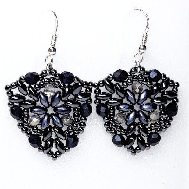 #superduo #rondelle #firepolish #toho #earrings #darkblue #hematyt #hematite