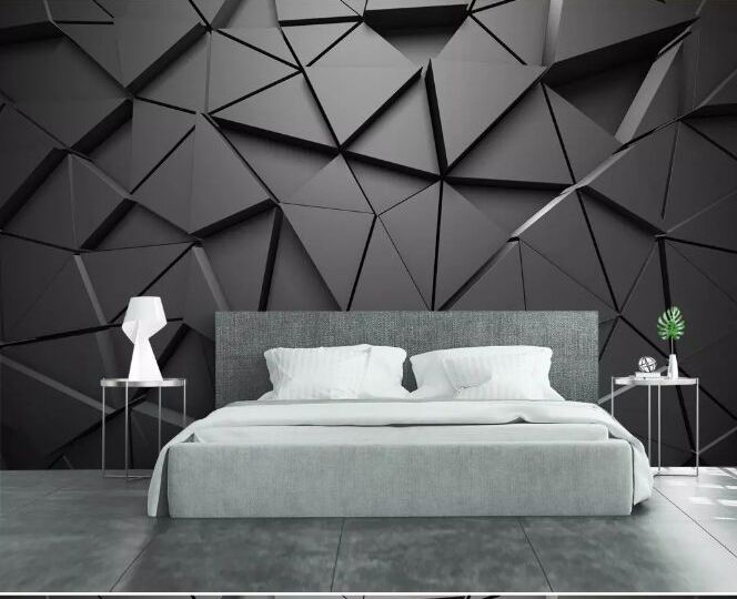 Modern 8d Abstract Gray Wall Paper Mural 3d Triangle Wallpaper Sticker Paper For Living Room Wallpaper Living Room Bedroom Bed Design 3d Wallpaper Living Room
