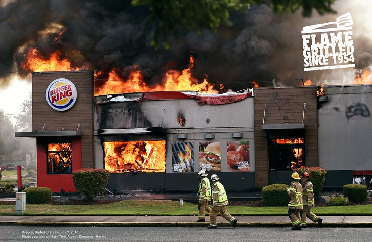 David's latest campaign is hot! Since 1954, more BK restaurants have burned down than any other fast-food chain.