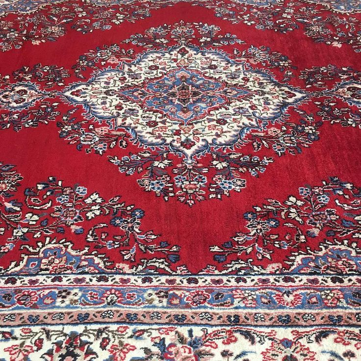 Large Persian Kerman Rug from Iran with an open red field and traditional central medallion.  #Kerman #wool #fine #colourtone #persian #persianrug #rug #rugs #ruglife #rozelle #sydney #sydneystyle #sydneylocal #interiordecor #interiordesign #decor #designinspiration #carpets #livingroomdecor  #iloverugs #medallion #red