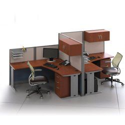Two Person L Desk Workstation Set Office CubiclesOffice DesksOffice