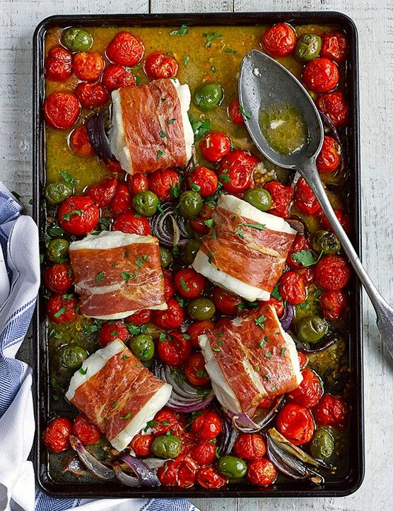 Cod, cherry tomato and green olive tray roast - Best low carb recipes collection: This recipe for cod, cherry tomato and green olive tray roast is so quick and easy to prepare but looks impressive when you pull it out of the oven. Serve with a big bowl of buttered orzo