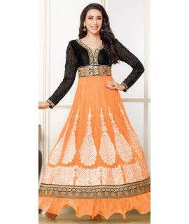 Delightful Black And Orange Net Anarkali Suit.