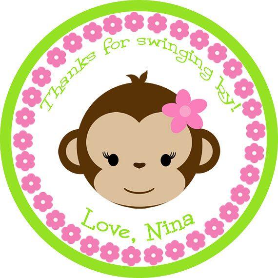 Monkey GIRL Birthday Baby Shower Stickers - girl or boy - personalized on Etsy, $4.00