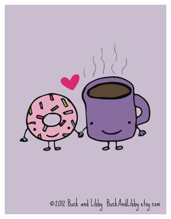 http://compartirvideos.es  Donut Loves Coffee 8.5 x 11 Illustration Print by by BuckAndLibby  #compartirvideos #imagenesdivertidas