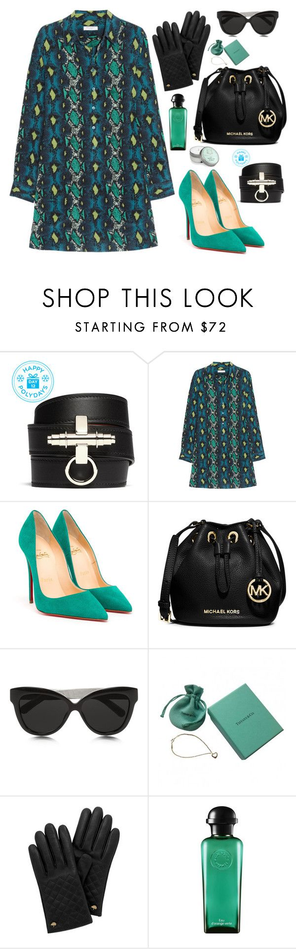 """""""Greens."""" by mara-petcana ❤ liked on Polyvore featuring Givenchy, Equipment, Christian Louboutin, MICHAEL Michael Kors, Linda Farrow, Tiffany & Co., Mulberry, Hermès, Aquiesse and Louboutin"""