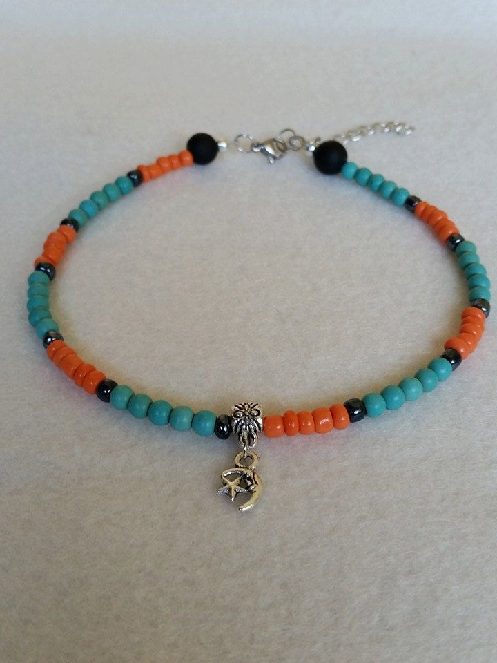 Turquoise and orange seed bead anklet