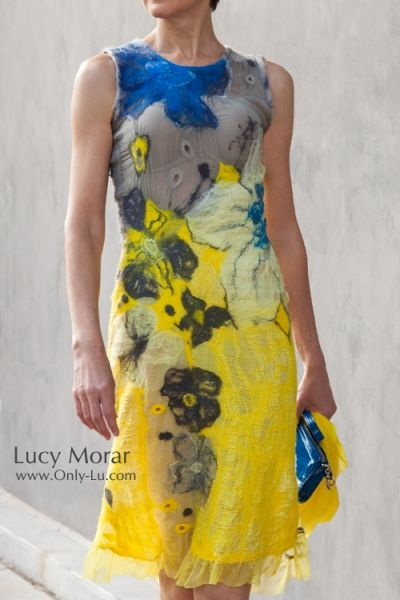 """Yellow Cocktail Dress"" Nuno Felt Dress by Lucy Morar"